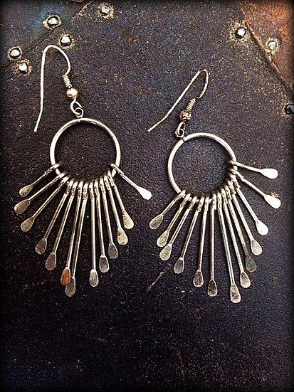 ❊SUNBURST❊Geometric Fringe Vintage Silver Earrings