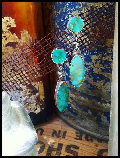 Vintage Old Pawn Turquoise Dangle Earrings