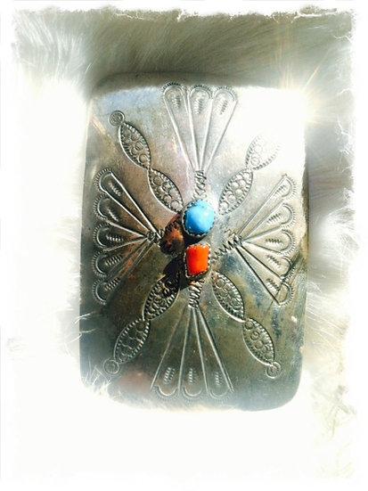 ROCKER✬Vintage Turquoise Coral Silver Stamp Buckle