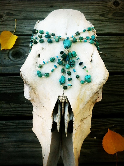 Old Pawn Heishi Turquoise and Shell Necklace