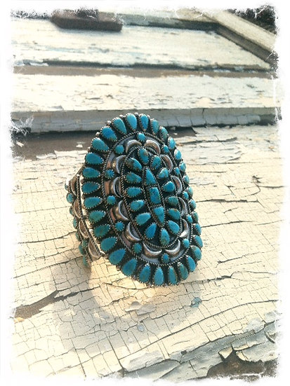 Huge Old Pawn Cluster Turquoise Cuff
