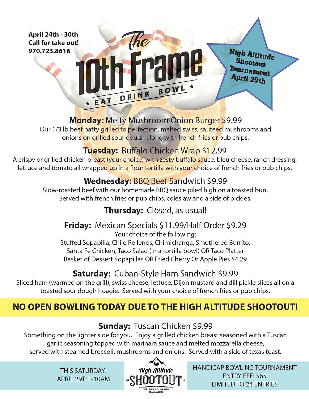 The 10th Frame Specials this week