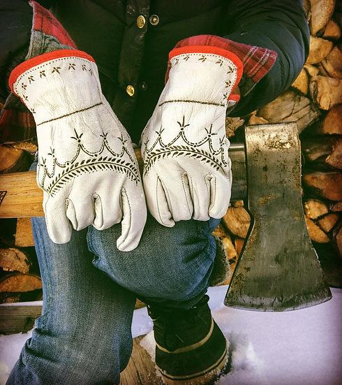Hand Burned Mountain Lupine Moto/Work Gloves