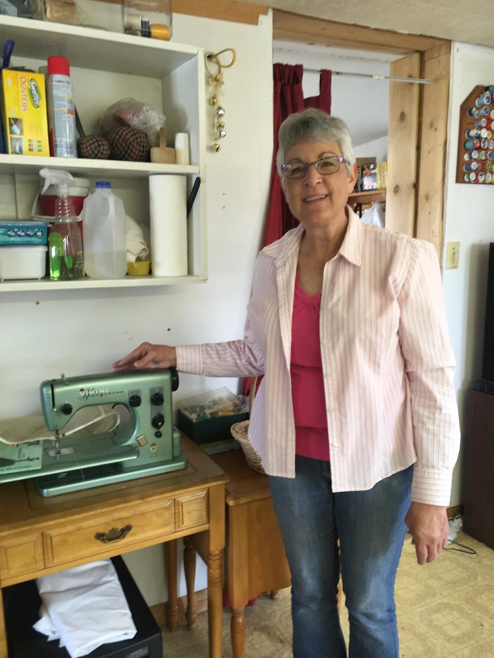 Jamie Crocket with her vintage sewing maching