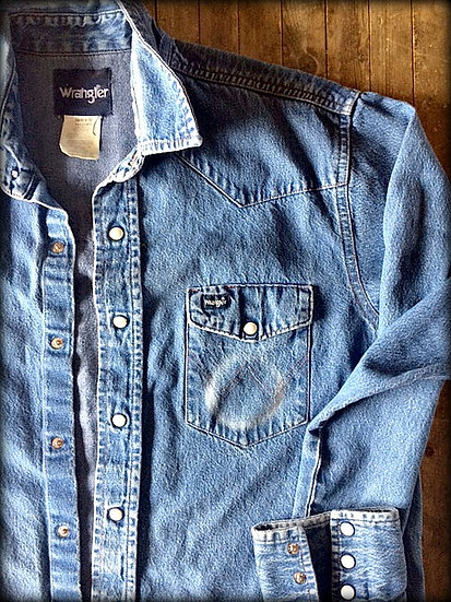 ❊Chew Can❊ Wrangler Denim Cowboy Snap Shirt