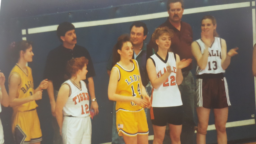 Coach Hodgson and Jolene Evans, 1993