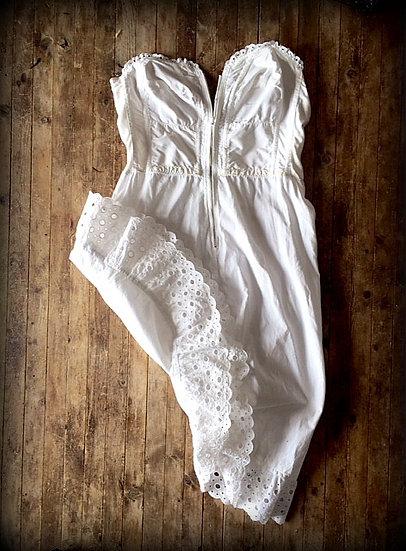 Prairie White Eyelet Vintage Corset Slip Dress