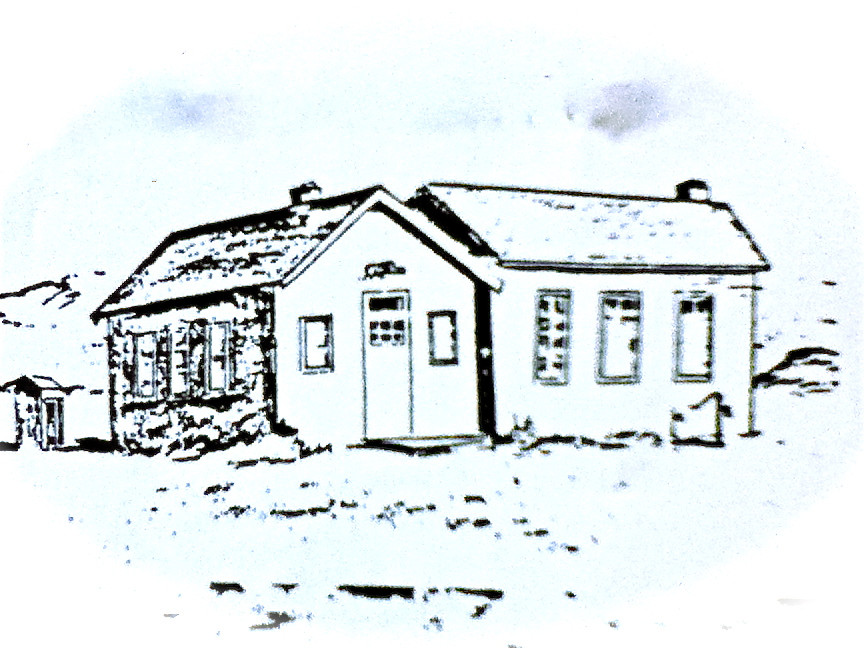 The Old Coalmont Schoolhouse, pencil drawing by Jean Bishop