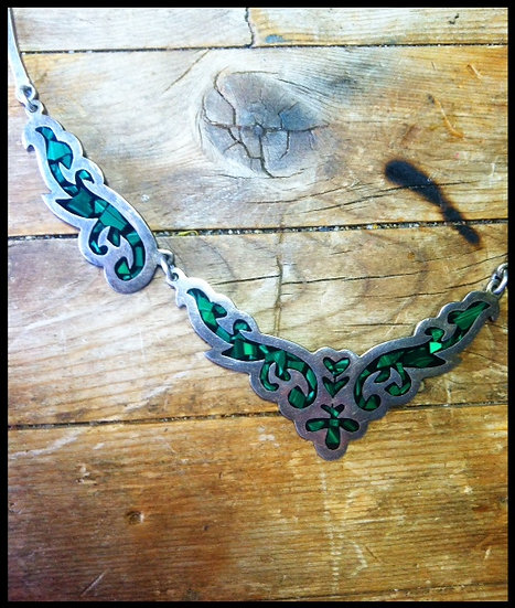 Vintage Silver Mexican Inlay Choker