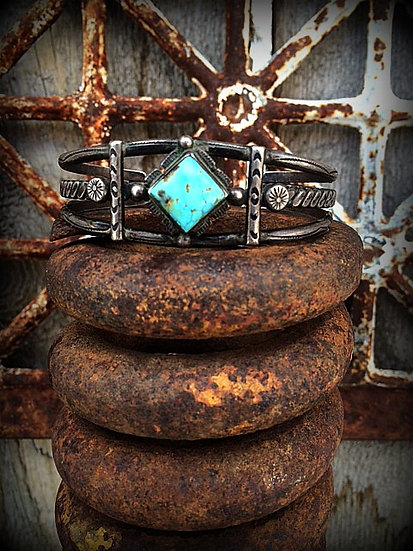 Old Pawn Turquoise Jypsi Cuff Sterling Silver