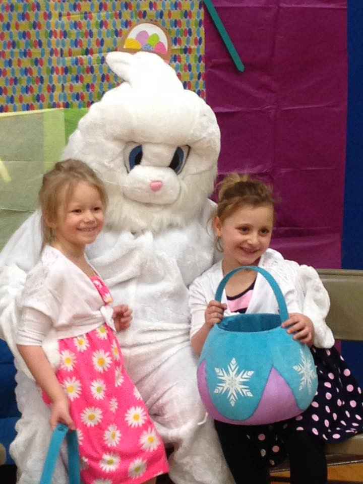 Easter Bunny at the 2016 Egg Hunt, moved inside due to weather.