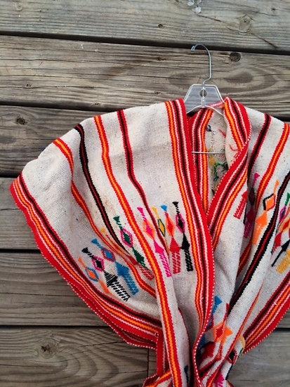Vintage Southwest Woven Wool Poncho