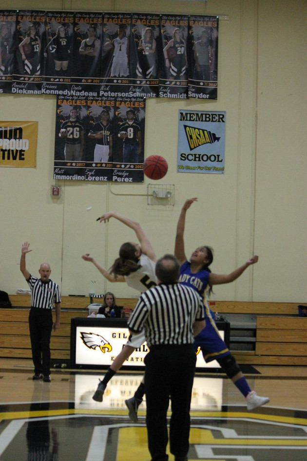 Jazmin going for the jump ball. Photo by Jeannie Jenkins