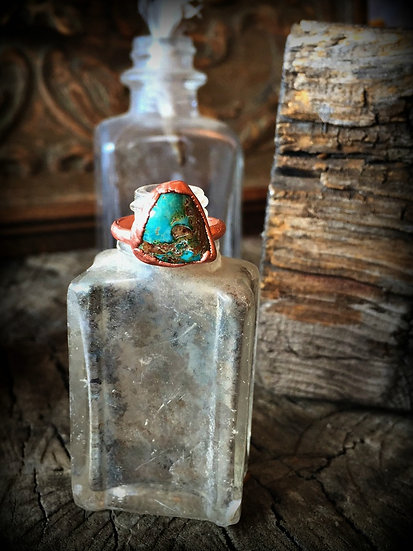 Turquoise Copper Alpine Ring #58