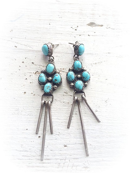 ❣ OLD PAWN ❣ Inlay Turquoise 4 Stone Earrings