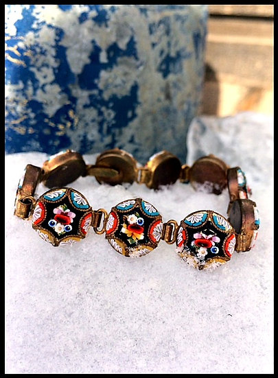 Vintage Calico ✿  Mosaic Shell Handmade Bracelet
