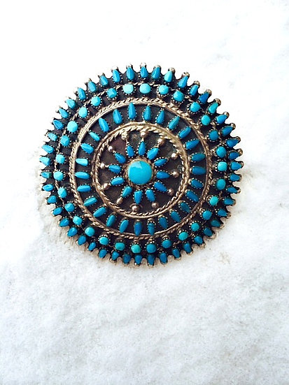 Old Pawn Zuni Turquoise Petit Point Pin or Pendent