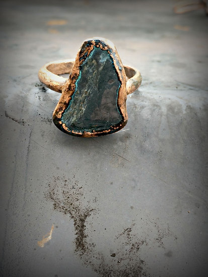 Mountain Man Copper Dipped River Rock Ring