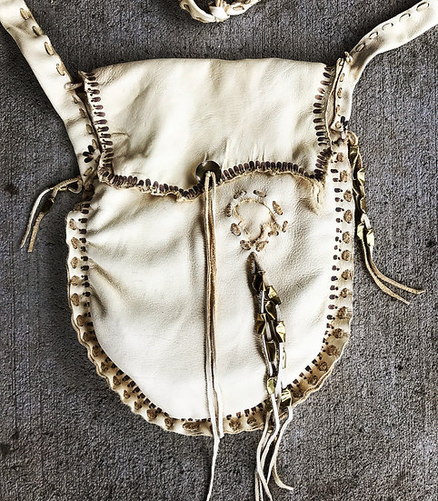 ❅ Tine Bag ❅ Buckskin, Bullet Shells, Hand Burned Details