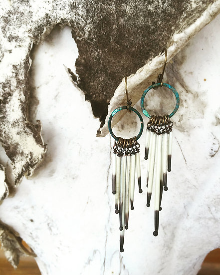 Calamity Clementines ◊ Porcupine Quill Earrings