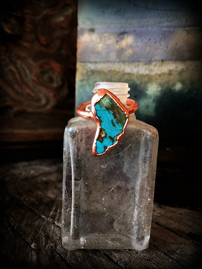 Turquoise Copper Alpine Ring #59 ❣ Size 7