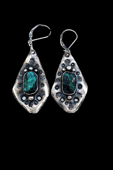 Mountain ❅ Mama  Sterling Silver and Chrysocolla Earrings