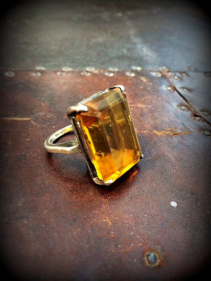 Vintage Amber Glass Cocktail Ring