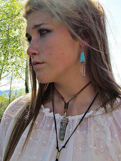 ۵TEARDROP۵ Old Turquoise Sterling Dangle Earrings