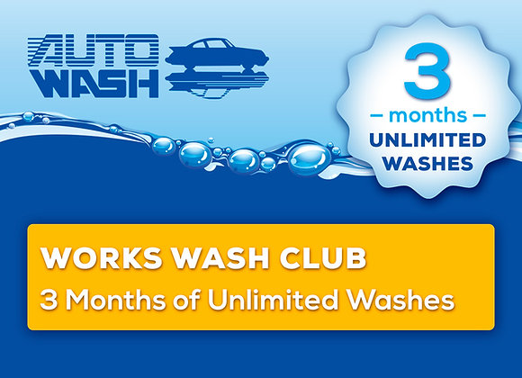 3 Month Unlimited Works Wash Club