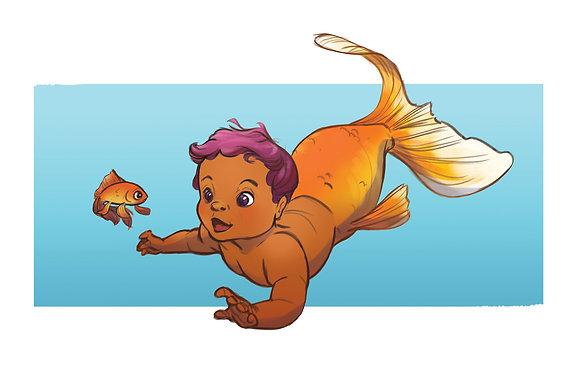 Mermaid Baby - 4 x 6 Print