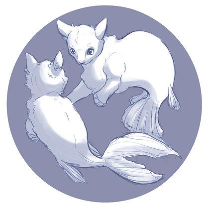 Kitten Catfish - 6 x 6 Print