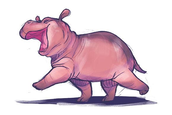 Happy Hippo Fiona - 4 x 6 Print