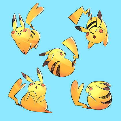 Fat Pikachu Set - 6 x 6 Print