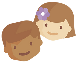 drawing of two smiling children's faces