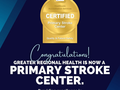 Greater Regional Health Receives Primary Stroke Center Certification from DNV