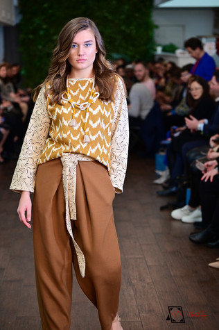 Laili Lau- Gold tone printed top with brown wide leg pants