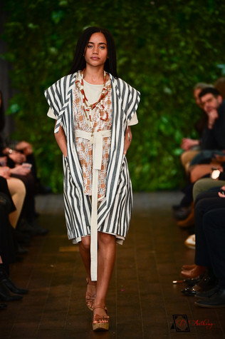 Laili Lau- Mix and Match Netural Prints with Navy Strips