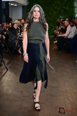 Decker Shop LA - Moss top with Navy Tie Skirt