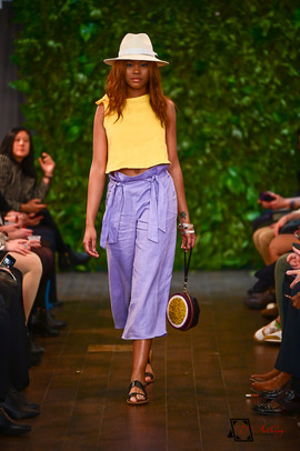 Decker Shop LA - Yellow Top with Purple Tie Wide Leg Pants