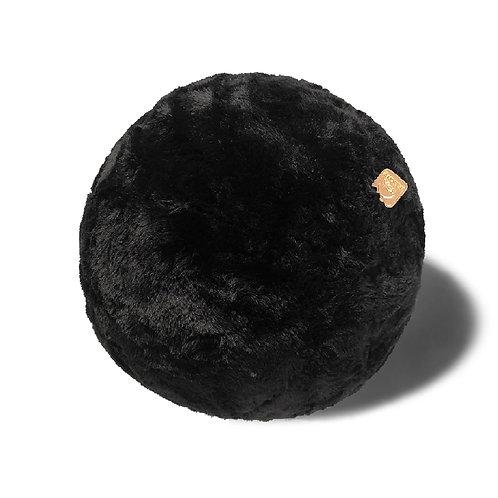 Faux-Fur Black Pillow Ball