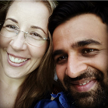 This is a photo of Lois (the owner of Nought and Norishing and her husband Bhav.