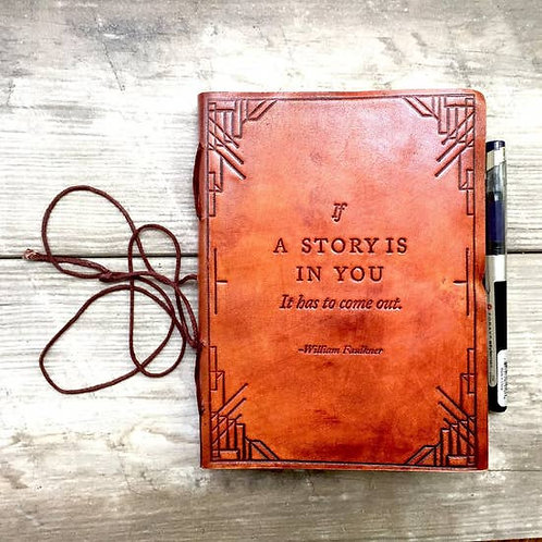 """Embossed Leather Journal- """"Story within'"""