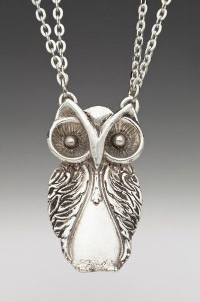 Upcycled Spoon Owl Necklace