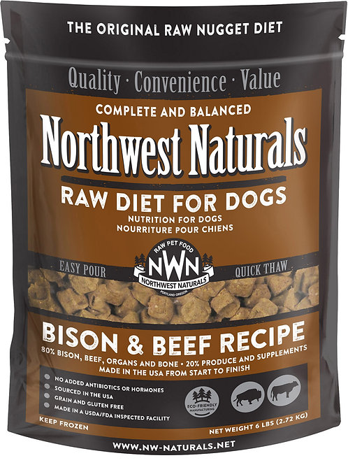 Northwest Naturals Frozen Raw Diet- Beef & Bison 6 lbs.