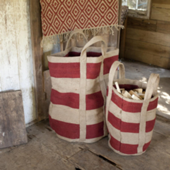 Red-Striped Jute Bag