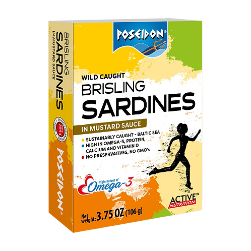 Brisling Sardines in Mustard Sauce 3.75 oz. ea (case of 4 or 14)