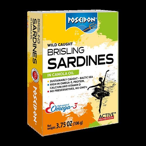 Brisling Sardines in Canola Oil 3.75 oz. ea (case of 4 or 14)