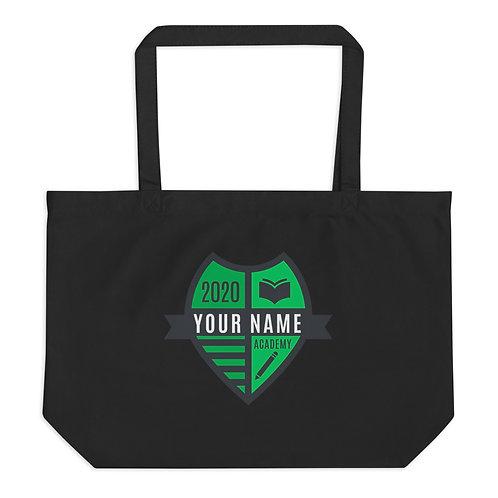 Large Green Crest organic tote bag