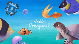 Blue Underwater Sea Creatures Zoom Virtu