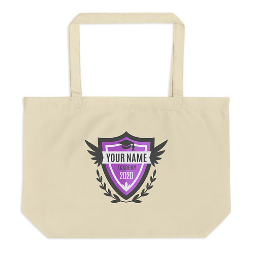 Large Purple Crest organic tote bag